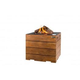Masa cocon Lounge & Dining patrata din lemn de tec, cu arzator negru
