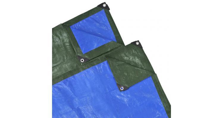 Prelată impermeabilă din pe, 10 x 10 m, 210 gsm, verde/ albastru imagine 2021 kivi.ro