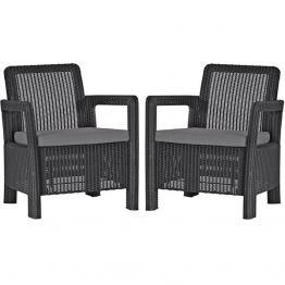 Set 2 scaune gradina Tarifa  Gri/Grafit