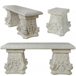 Banca din ceramica cu picioare decorate in stil clasic