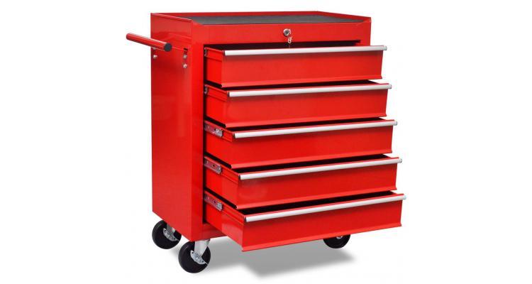 Cărucior depozitare unelte cu 5 sertare, pentru atelier, roșu imagine 2021 kivi.ro
