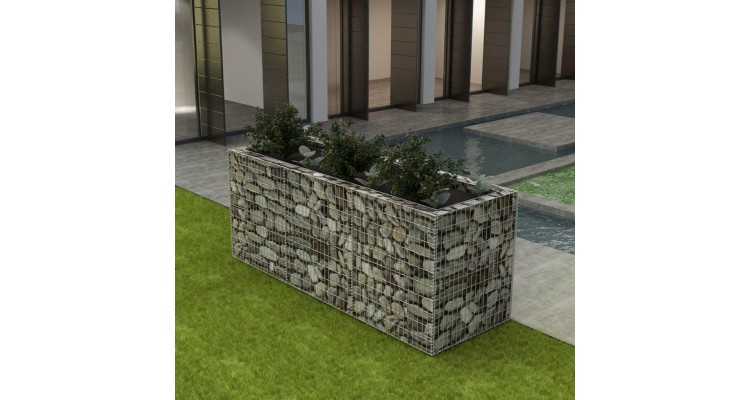 Jardinieră gabion din oțel, 270 x 90 x 100 cm imagine 2021 kivi.ro