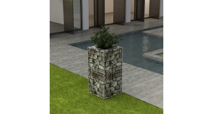 Jardinieră gabion din oțel, 50 x 50 x 100 cm imagine 2021 kivi.ro