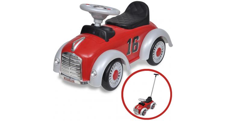 Masina retro de jucarie pentru copii, cu impingere, rosu