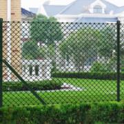 Gard de sarma 1 x 15 m Verde cu Stalpi si Accesoriile de montare