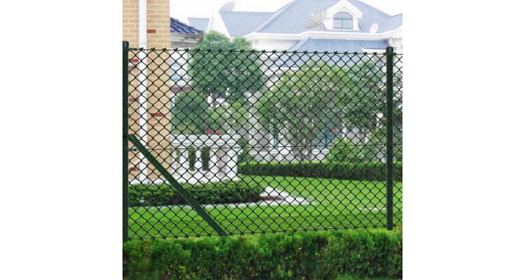 Gard de sarma 1 x 25 m Verde cu Stalpi si Accesoriile de montare