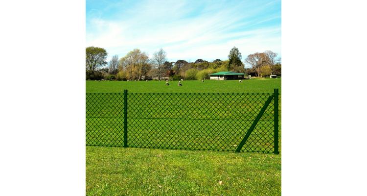 Plasa de gard cu accesorii pentru fixare stalpi gard 0,8 x 15 m