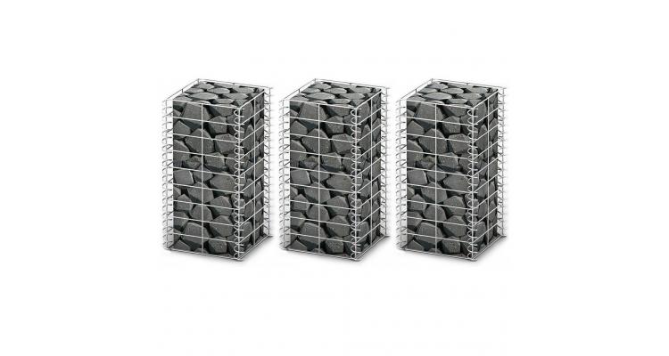 Set 3 gabioane din sarma galvanizata 25 x 25 x 50 cm
