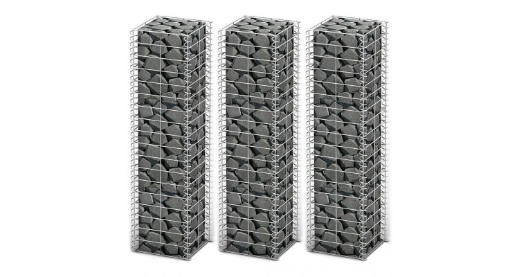 Set 3 gabioane din sarma galvanizata 25 x 25 x 100 cm imagine 2021 kivi.ro