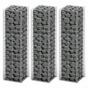 Set 3 gabioane din sarma galvanizata 25 x 25 x 100 cm