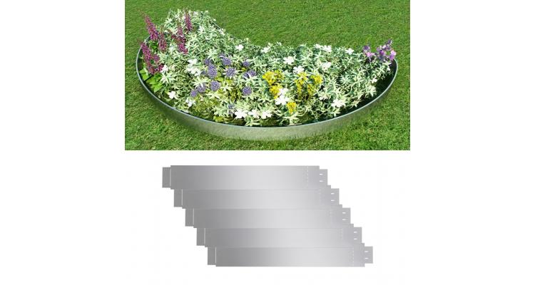 Set 5 separatoare flexibile otel galvanizat 100 x 15 cm pentru gazon