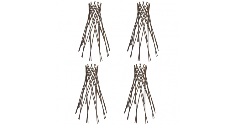 Set 4 suporturi in forma de palnie cu zabrele din salcie 90 cm