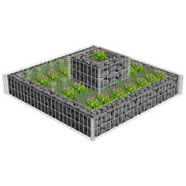 Jardiniera gabion cu 2 niveluri