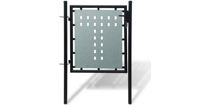 Poarta pentru gard simpla, negru, 100 x 125 cm