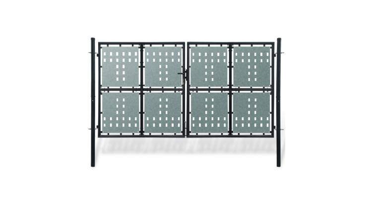 Poarta dubla neagra pentru gard 300 x 200 cm