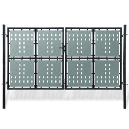 Poarta dubla neagra pentru gard 300 x 225 cm