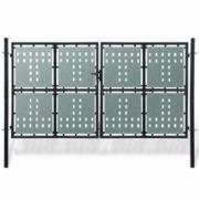 Poarta dubla neagra pentru gard 300 x 250 cm