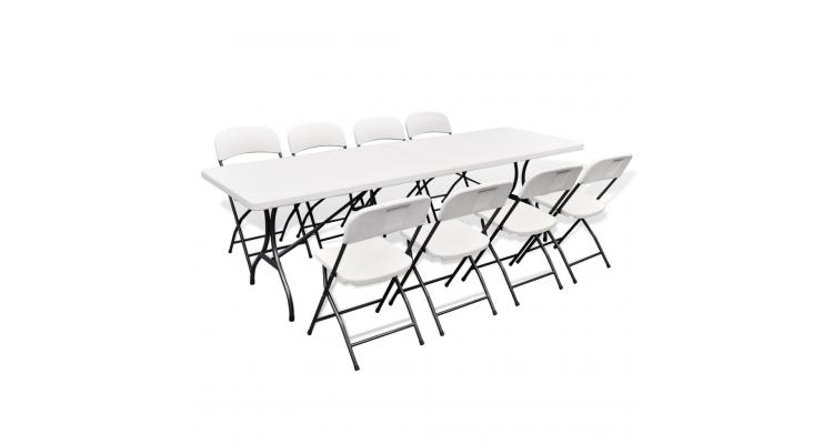 Set mobilier gradina pliabil masa cu 8 scaune HDPE 244 cm, alb