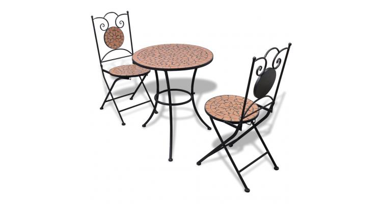 Masa bistro mozaic 60 cm cu 2 scaune aspect teracota