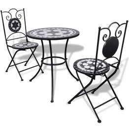Masa bistro mozaic 60 cm, 2 scaune, negru/alb
