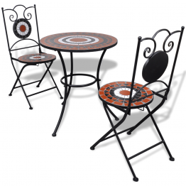 Masa bistro mozaic 60 cm, 2 scaune, teracota/alb