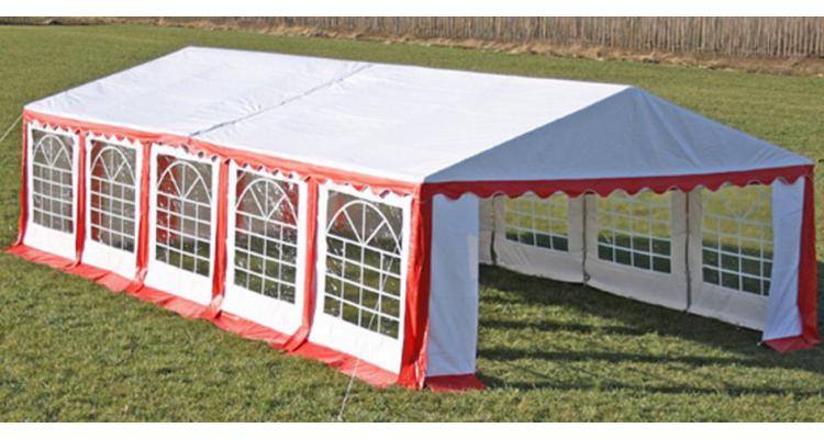 Copertina + pereti laterali pavilion petrecere 10 x 5 m, Rosu/ Alb