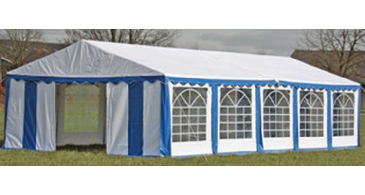 Copertina + pereti laterali pavilion petrecere 10 x 5 m, Albastru/ Alb