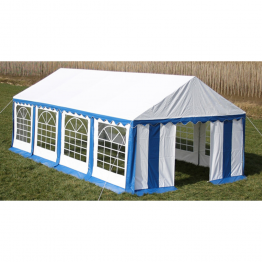 Copertina + pereti laterali pavilion petrecere 8 x 4 m, Albastru/ Alb