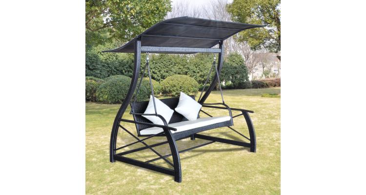 Balansoar pentru exterior cu acoperis din ratan, Negru