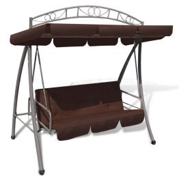 Balansoar rabatabil cu acoperis si arcada pentru gradina, Cafeniu