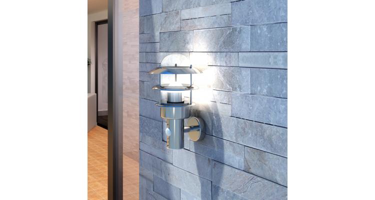 Lampa de perete din otel inoxidabil cu senzor de miscare