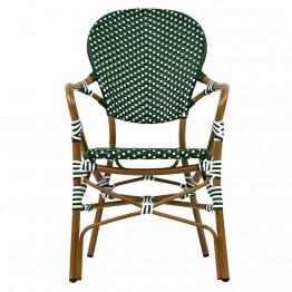 Scaun cu brate FRENCH 57x63x95 natur, verde-alb