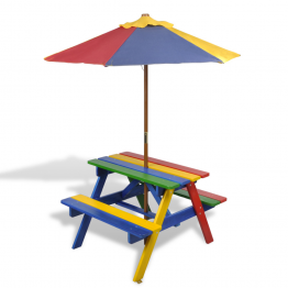 Masuta de Picnic pentru Copii cu Umbrela si Bancuta