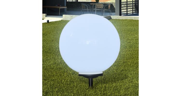 Lampa solara pentru gradina Sferica Lumina LED 50 cm cu Suport ascutit