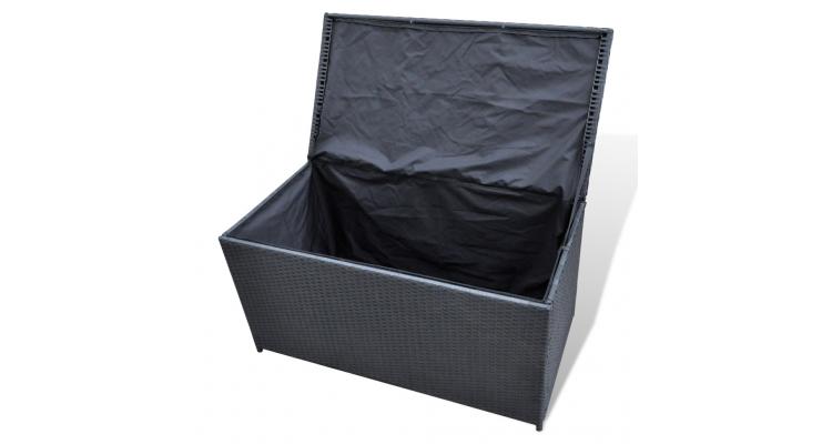 Cutie de depozitare din ratan 116 x 60 x 60 cm, Negru