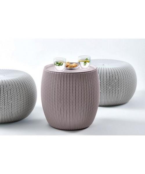 Set mobilier de gradina cu scaune gri si masuta violet depozitare, Urban Knit Gri imagine 2021 kivi.ro