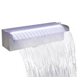 Fantana cascada cu LED pentru piscina, din otel inoxidabil, 30 cm