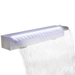 Fantana dreptunghiulara tip cascada, otel inoxidabil cu LED, 60 cm