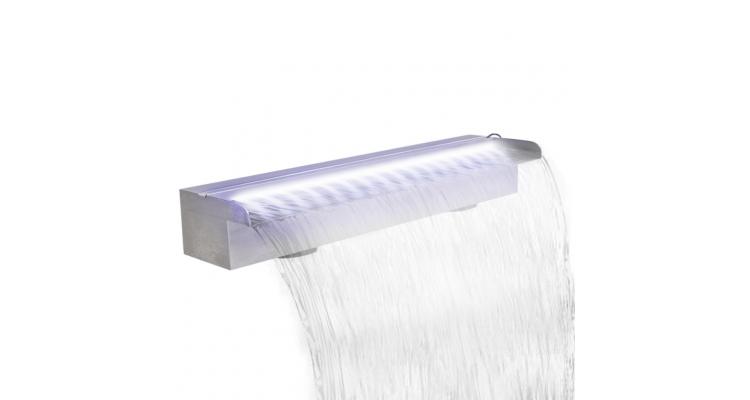 Fantana dreptunghiulara tip cascada, otel inoxidabil cu LED, 60 cm poza kivi.ro