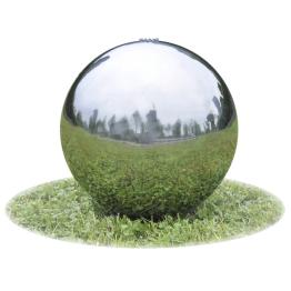 Fantana sfera de gradina cu LED-uri din otel inoxidabil, 30 cm