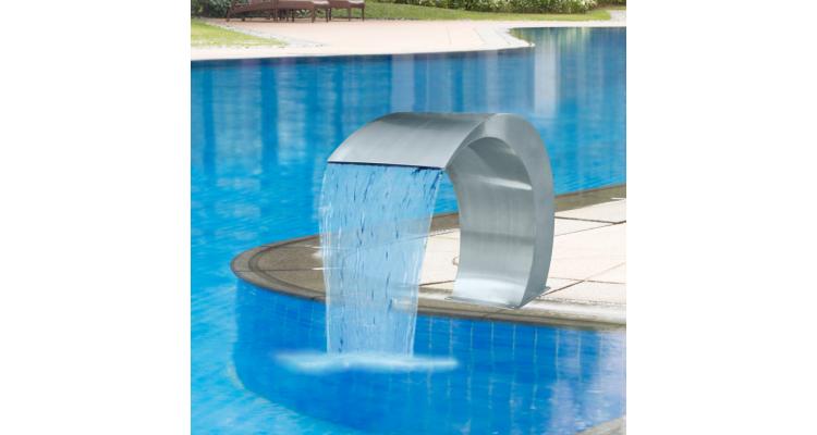 Fantana tip cascada pentru piscina din otel inoxidabil 45 x 30 x 60 cm