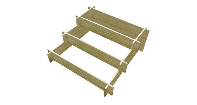 Ghiveci de gradina din lemn tratat cu 3 nivele 90 x 90 x 35 cm
