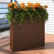 Ghiveci rectangular din ratan pentru gradina, 1 buc, Maro