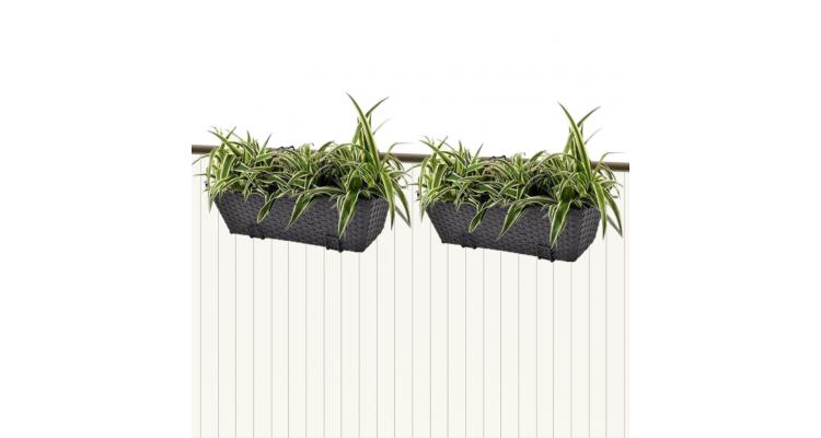 Jardiniera din ratan pentru balcon, 50 cm, 2 buc, Negru