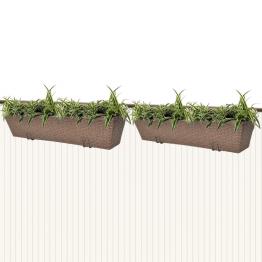 Jardiniera din ratan pentru balcon, 80 cm, 2 buc, Maro