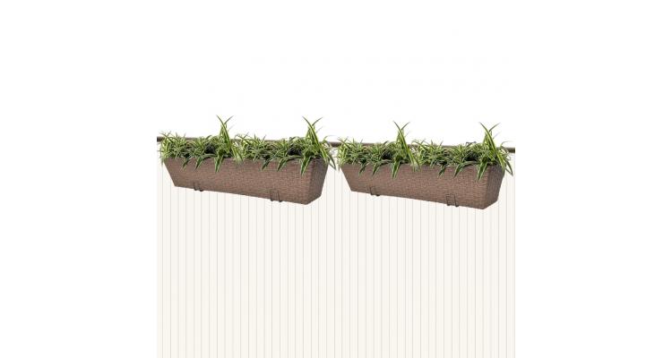 Jardiniera din ratan pentru balcon, 80 cm, 2 buc, Maro poza kivi.ro