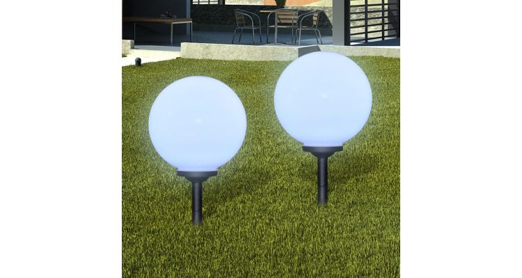 Lampi solare de gradina in forma de glob cu tepusa LED 2 buc.