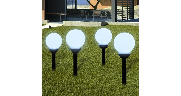 Lampi solare pentru exterior cu LED-uri + tarusi, 15 cm, 4 buc