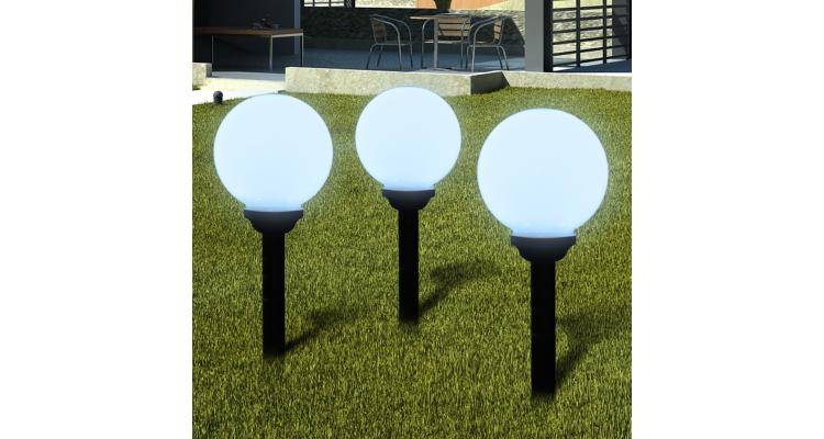 Lampi solare pentru exterior cu LED-uri + tarusi, 20 cm, 3 buc imagine 2021 kivi.ro