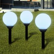 Lampi solare pentru exterior cu LED-uri + tarusi, 20 cm, 3 buc